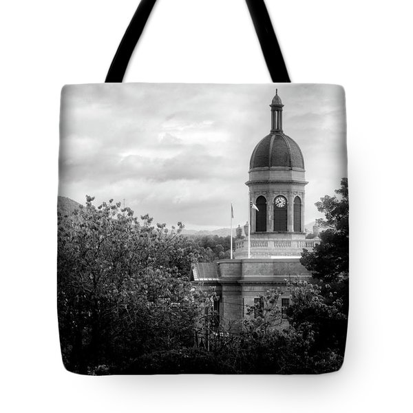 Light On The Courthouse In Black And White Tote Bag