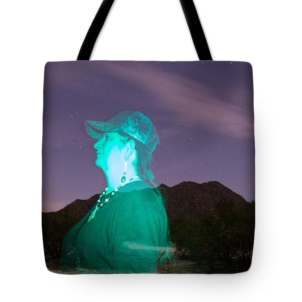 Tote Bag featuring the photograph Light Painting In Arizona by Carolina Liechtenstein