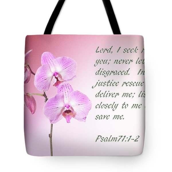 Tote Bag featuring the photograph Light Pink Orchid Psalms 71 by Linda Phelps