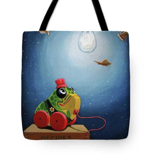 Tote Bag featuring the painting Light Snacks Original Whimsical Still Life by Linda Apple