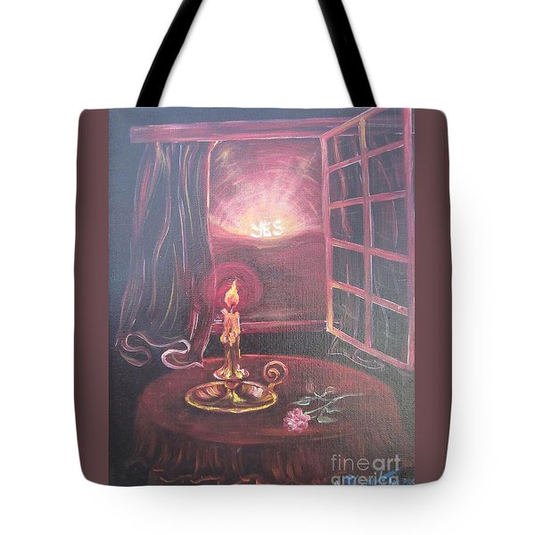 Flying Lamb Productions      Light The Yes Candle Tote Bag