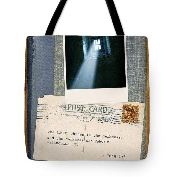 Light Through Window And Scripture Tote Bag by Jill Battaglia