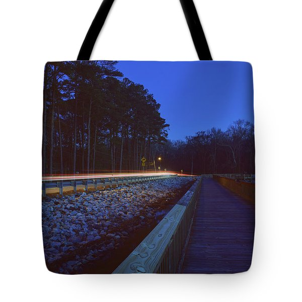 Light Trails On Elbow Road Tote Bag