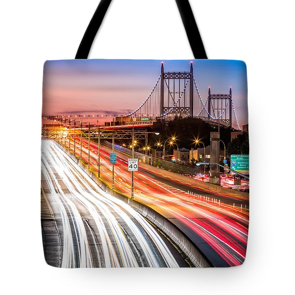 Tote Bag featuring the photograph Light Trails On I-278 Near Triboro Bridge by Mihai Andritoiu