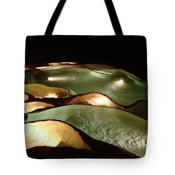 Tote Bag featuring the photograph Light Up The Dark - Lit Natural Rock Water Basins In Underground Cave by Menega Sabidussi