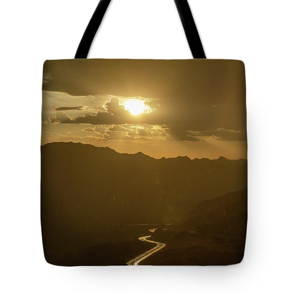 Tote Bag featuring the photograph Light Up The Highway In The Rain by Gaelyn Olmsted