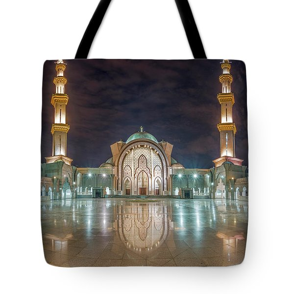 Tote Bag featuring the photograph Lighted Federal Territory Mosque  by Pradeep Raja Prints