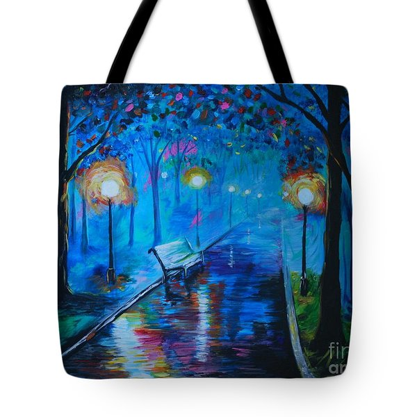 Tote Bag featuring the painting Lighted Parkway by Leslie Allen
