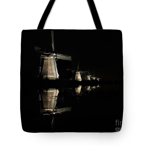 Lighted Windmills In The Black Night Tote Bag