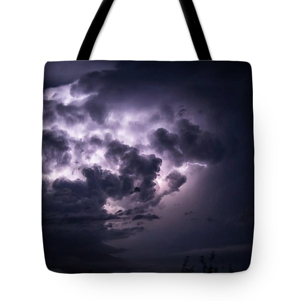 Lightening At Night Tote Bag