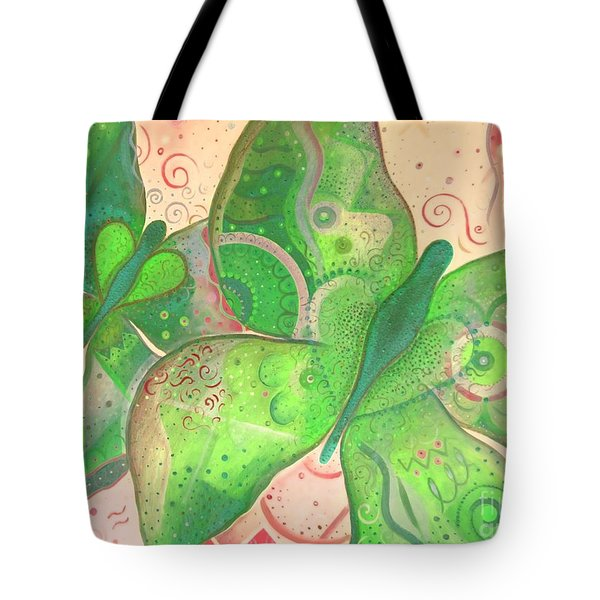 Lighthearted In Green On Red Tote Bag