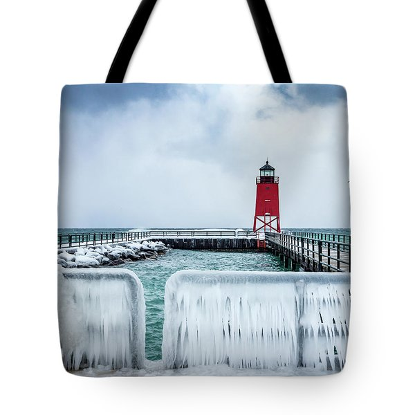Lighthouse And Ice Tote Bag