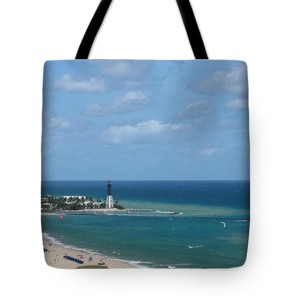 Lighthouse And Kiteboarding Tote Bag