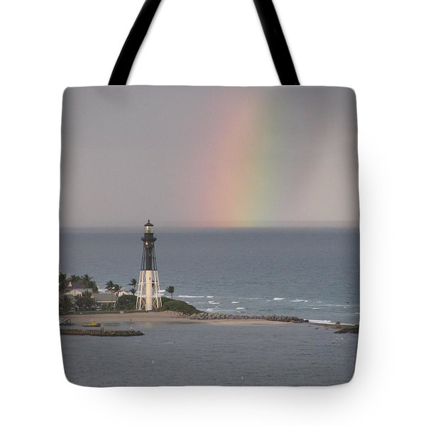 Lighthouse And Rainbow Tote Bag