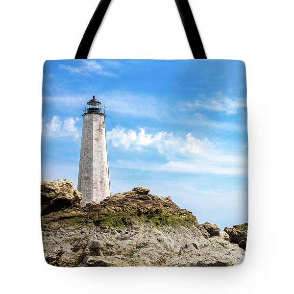 Lighthouse And Rocks Tote Bag