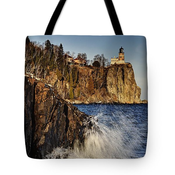 Tote Bag featuring the photograph Lighthouse And Spray by Larry Ricker