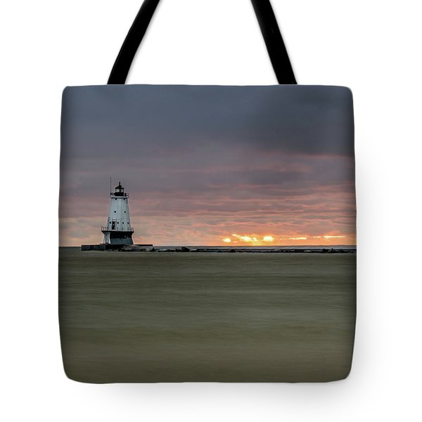 Lighthouse And Sunset Tote Bag