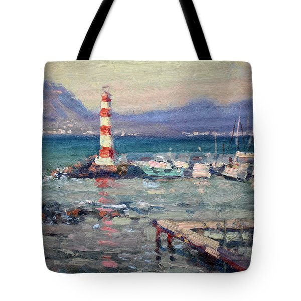 Lighthouse At Dilesi Harbor Greece Tote Bag