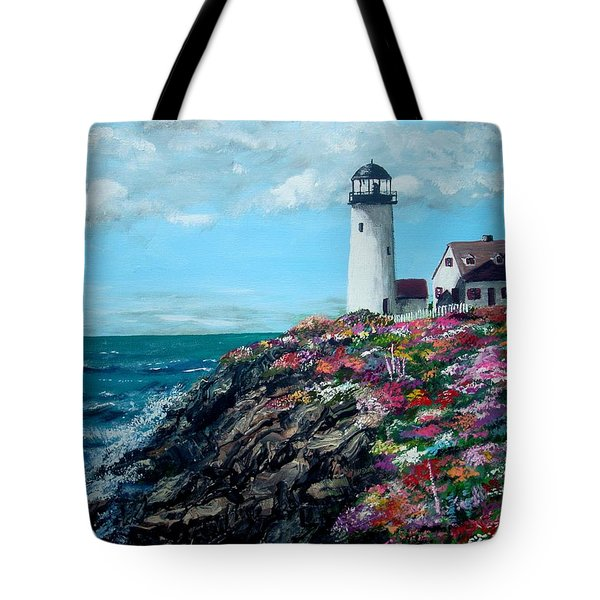 Tote Bag featuring the painting Lighthouse At Flower Point by Jack Skinner
