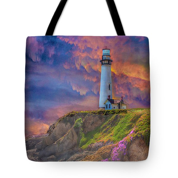 Lighthouse At Pigeon Point Tote Bag