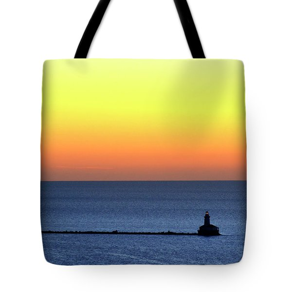 Tote Bag featuring the photograph Lighthouse At Sunrise On Lake Michigan by Zawhaus Photography
