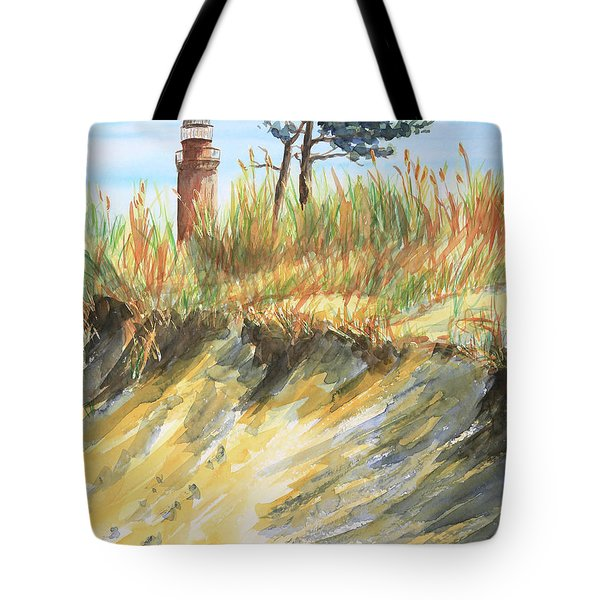 Lighthouse At The Beach Tote Bag