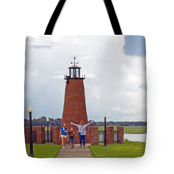 Lighthouse At The Port Of Kissimmee On Lake Tohopekaliga In Central Florida Tote Bag by Allan  Hughes