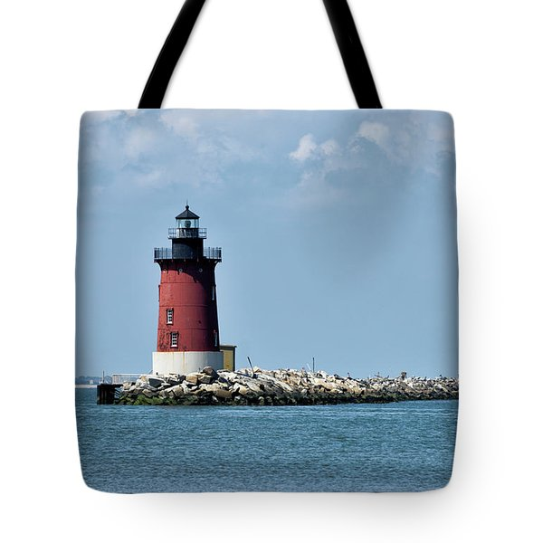 Tote Bag featuring the photograph Delaware Breakwater East End Lighthouse - Lewes Delaware by Brendan Reals