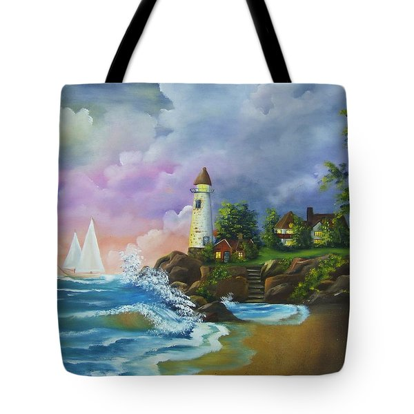 Lighthouse By The Village Tote Bag