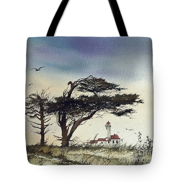 Tote Bag featuring the painting Lighthouse Coast by James Williamson