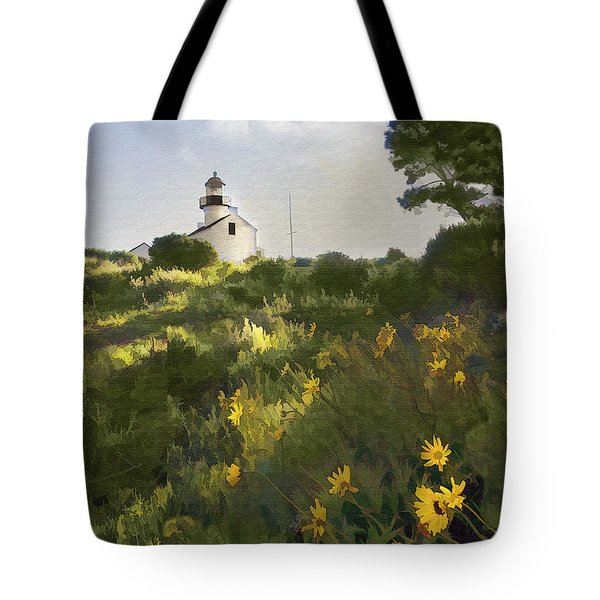 Lighthouse Daisies Tote Bag by Sharon Foster