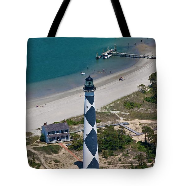 Lighthouse From Above Tote Bag by Betsy Knapp