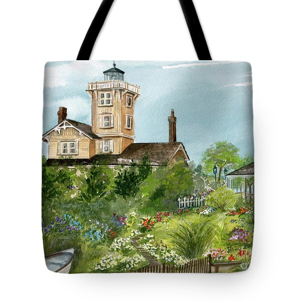 Tote Bag featuring the painting Lighthouse Gardens  by Nancy Patterson