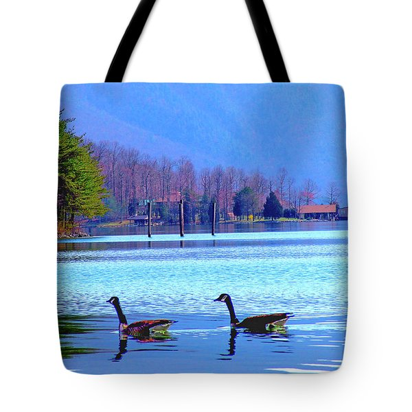 Lighthouse Geese, Smith Mountain Lake Tote Bag