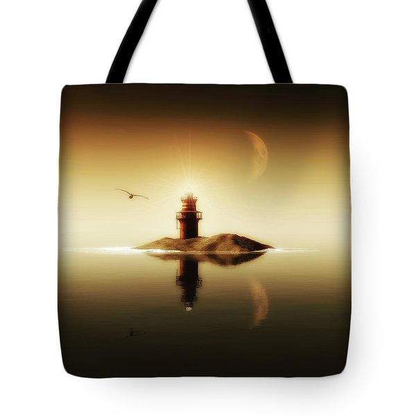 Lighthouse In A Calm Sea Tote Bag