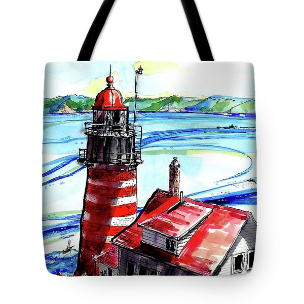 Tote Bag featuring the painting Lighthouse In Maine by Terry Banderas