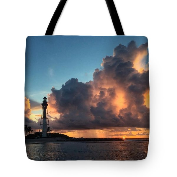 Lighthouse In Orange Tote Bag