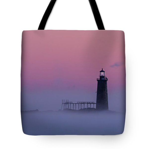 Lighthouse In The Clouds Tote Bag