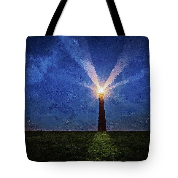 Tote Bag featuring the digital art Lighthouse In The Dusk by PixBreak Art