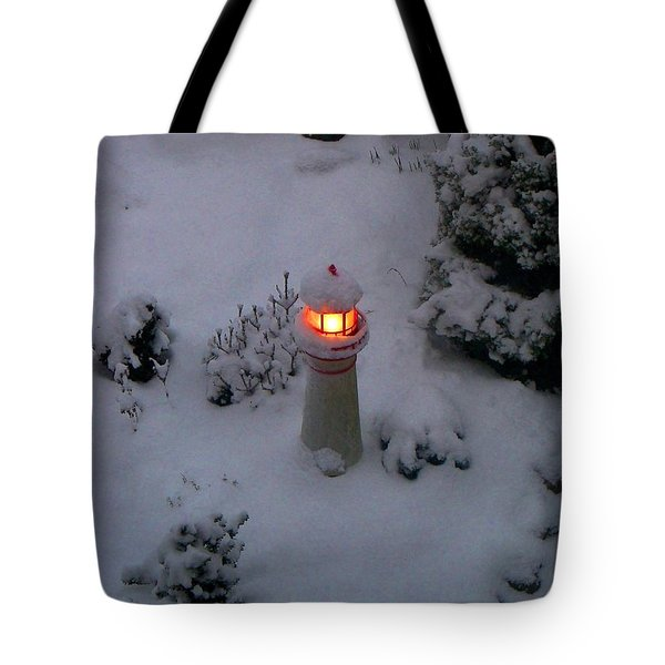 Tote Bag featuring the photograph Lighthouse In The Snow by Kathryn Meyer