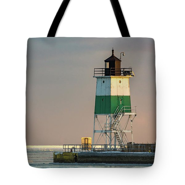 Lighthouse In The Sunset Tote Bag