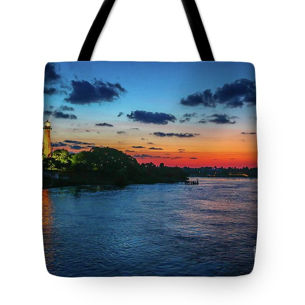 Tote Bag featuring the photograph Lighthouse Light Beam by Tom Claud