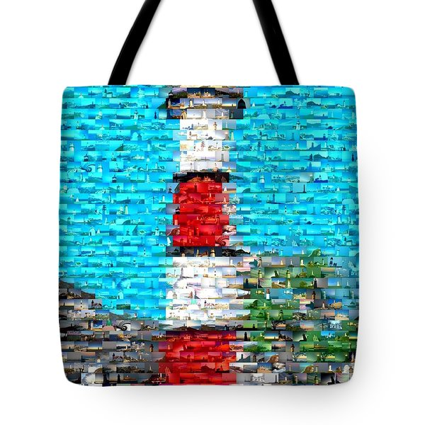 Lighthouse Made Of Lighthouses Mosaic Tote Bag by Paul Van Scott