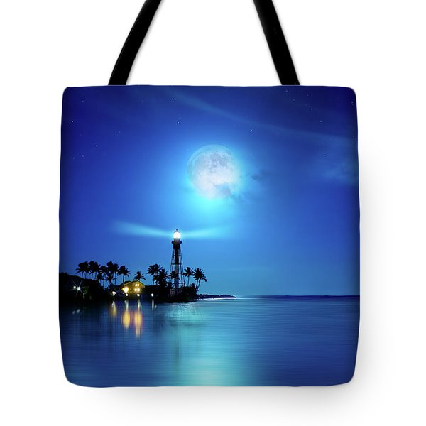 Lighthouse Moon Tote Bag by Mark Andrew Thomas
