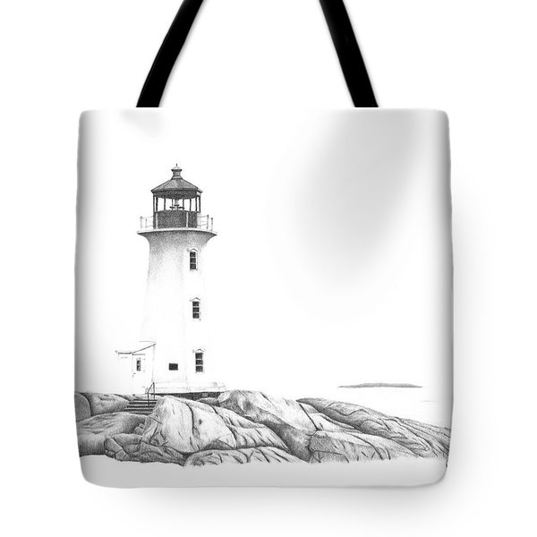 Tote Bag featuring the drawing Lighthouse Of Peggy's Cove by Patricia Hiltz