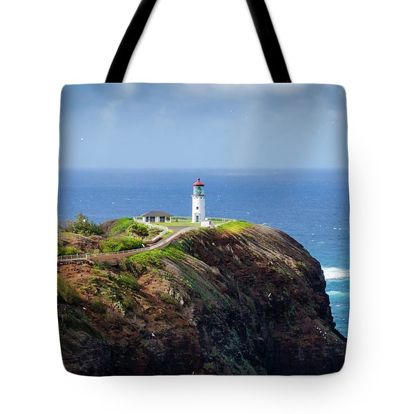 Lighthouse On A Cliff Tote Bag