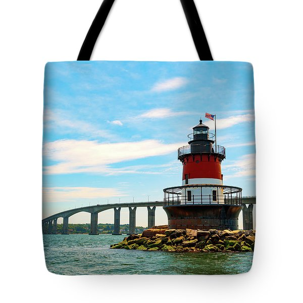 Lighthouse On A Small Island Tote Bag