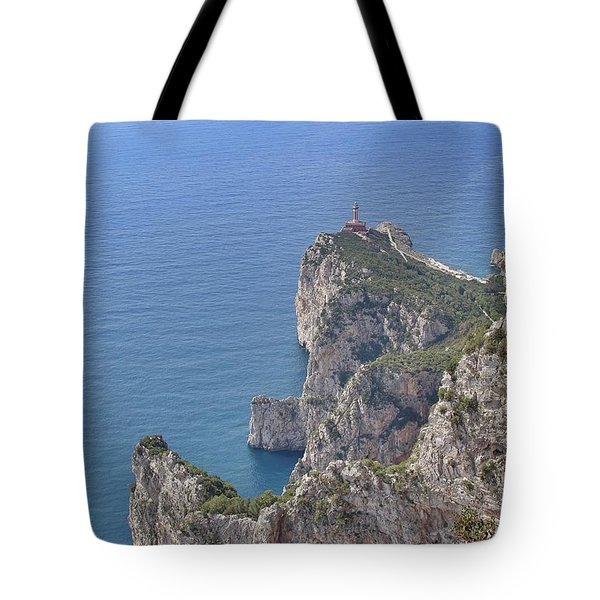 Lighthouse On The Cliff Tote Bag