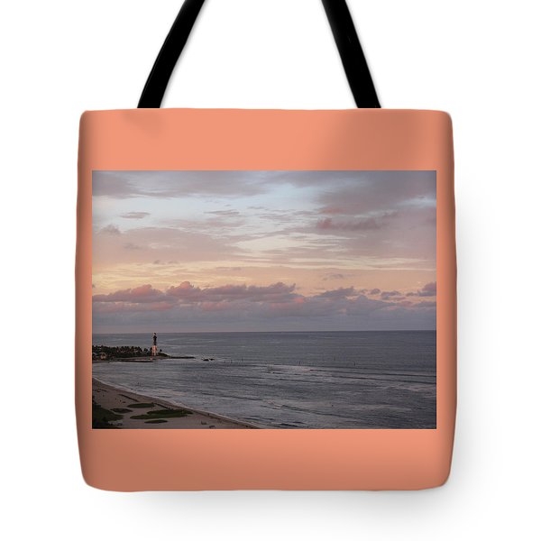 Lighthouse Peach Sunset Tote Bag
