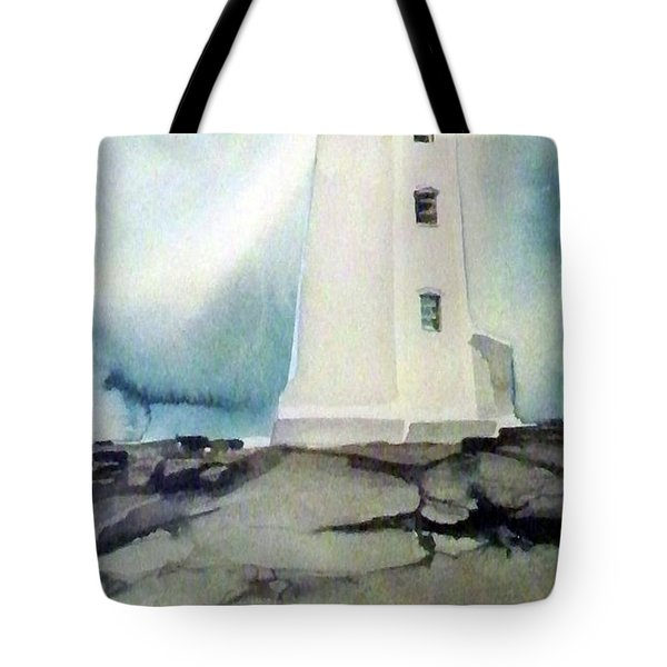 Lighthouse Rock Tote Bag by Ed Heaton